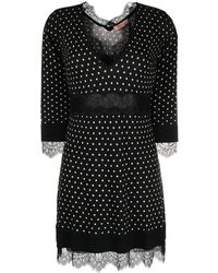 Twin Set Платье Мини С Принтом - Черный