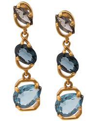 Oscar de la Renta Crystal Drop Earrings - Blue