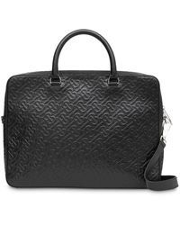 Burberry Monogram Leather Briefcase - Black
