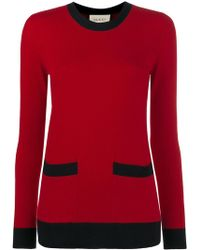 Gucci Crew Neck Cashmere Loose Fit Jumper - Red