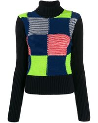Victoria Beckham Patchwork Knitted Sweater - Blue