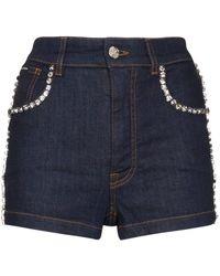 Dolce & Gabbana Pantalones vaqueros cortos con detalles - Azul