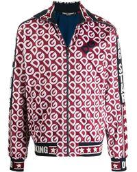 Dolce & Gabbana Sweat-Shirt Zippé En Jersey Technique À Imprimé Dg Logo - Rouge