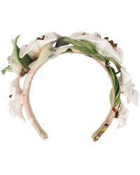 Dolce & Gabbana Floral Embellished Hairband - White