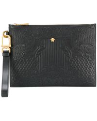 Versace - Embossed Square Clutch Bag - Lyst