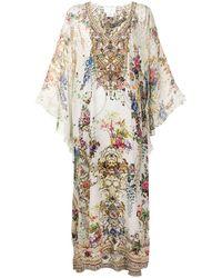 Camilla Платье С Цветочным Принтом И V-образным Вырезом - Белый