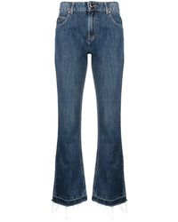 RED Valentino Logo-patch Cropped Denim Jeans - Blue