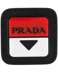 Prada Anstecknadel mit Logo - Schwarz