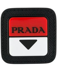 Prada Pin con logo cuadrado - Negro