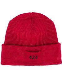 424 ロゴパッチ ビーニー - レッド