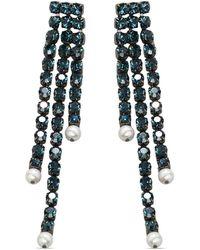 Christopher Kane Rhinestone-embellished Drop Earrings - Blue