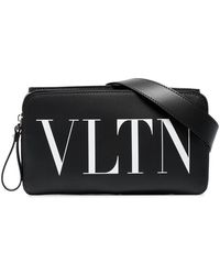 Valentino - Black And White Logo Print Leather Cross Body Bag - Lyst