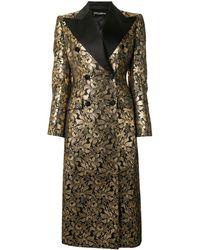 Dolce & Gabbana Двубортное Жаккардовое Пальто - Металлик