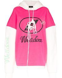 we11done Hoodie Met Logo - Roze