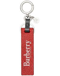 Burberry Mens Red Logo Print Leather Key Ring