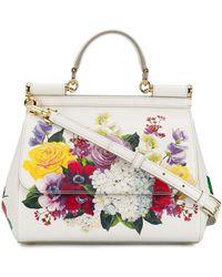 Dolce & Gabbana Floral Print Sicily Bag - White