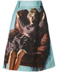 Prada - All Designer Products - Pin Up Print Midi Skirt - Lyst