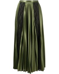 Christopher Kane Lace Panelled Pleated Skirt - グリーン