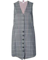 Thom Browne Платье В Клетку Windowpane - Серый
