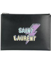 Saint Laurent Lightning Bolt-print Tablet Pouch