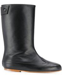 Courreges Flat Boots - Black