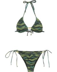 Amir Slama Wave print bikini set - Verde