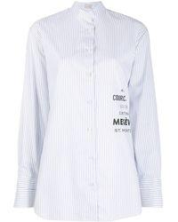 Mrz Striped Collarless Shirt - White