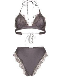 Oséree Travaille Lace Triangle Bikini - Gray