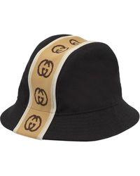 Gucci Sombrero estilo borsalino con GG entrelazada - Negro