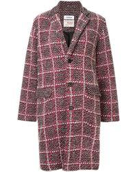 Coohem Check Tweed Coat - Red