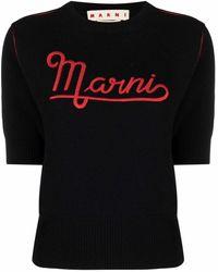 Marni Топ С Вышитым Логотипом - Черный