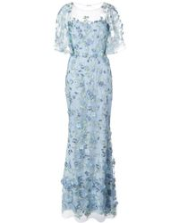 Marchesa notte - Floral Embroidered Fishtail Gown - Lyst