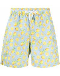 Hackett Lemon-print Swim Shorts - Blue