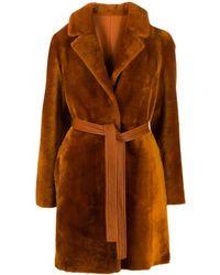 Blancha Belted Faux Fur Coat - Orange