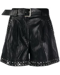 Twin Set Faux-leather Studded Shorts - Black