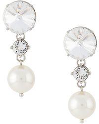 Miu Miu Crystal And Pearl Drop Earrings - Meerkleurig