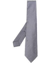Kiton Corbata con motivo de cuadrados - Gris