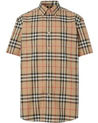 Burberry Поплиновая Рубашка В Клетку С Короткими Рукавами - Многоцветный