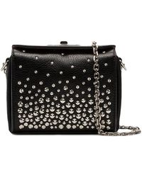 Alexander McQueen - Leather Box Bag With Studs And Silver Chain - Lyst