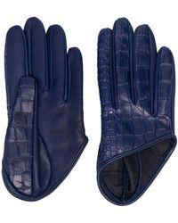 Manokhi Mano Crocodile Embossed Short Gloves - Blue