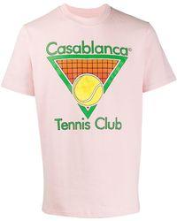 CASABLANCA Tennis Club Tシャツ - ピンク