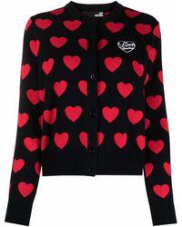 Love Moschino Cardigan à motif cœurs - Noir