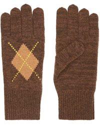 Burberry Перчатки Вязки Интарсия С Узором Аргайл - Коричневый