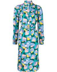 COACH プリント シャツドレス - ブルー