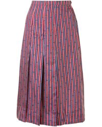 Hermès Pre-owned Bridle Print Pleated Skirt - Red