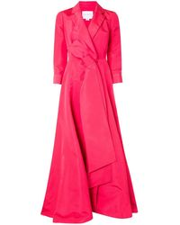 Carolina Herrera A-line Trench Gown Dress - Pink