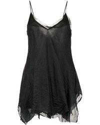 Marc Le Bihan Tulle-layered Silk Top - Black