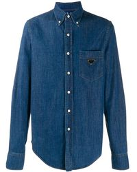 Prada Snap Button-up Denim Shirt - ブルー