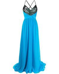 Emilio Pucci Sequinned Neckline Long Dress - Blue