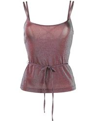 M Missoni Metallic Tie-waist Top - Red